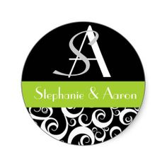 Damask Wedding Monogram in Black and Green Stickers