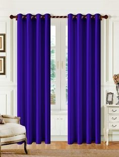 Casa Elite Madrid Solid Color Window Panel, 55 by 84-Inch, Navy