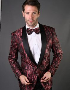 This tuxedo is sure to make a statement. It features a beautiful geometric leaf patterned fabric, with a tiny embossed diamond between each swirl. It comes in a modern cut, 1 button style, with side vents and a shawl lapel.  #BlackJacket #BurgundyJacket  #WeddingJacket #PromTux #WeddingTux #Tux #Wedding #Prom #DinnerJacket #Jacket Wedding Tux, Wedding Jacket, Mens Dinner Jacket, Prom Tux, 1 Button, Fabric Patterns, Tuxedo, Shawl, Burgundy