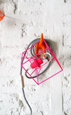 CUBE LAMP with textile cable switch and plug  neon by lacasadecoto, €49.00