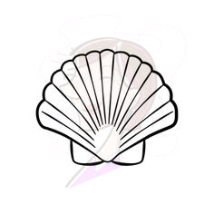 Bay Scallop Sea Shell Digital Clip Art, comes in a set of 6 pieces seashells and starfish. $4.20 #seashells #clipart #beach