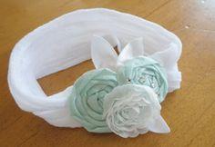 Fun new baby headbands in my etsy shop today!  Light Aqua Nylon Baby Headband. $12.50, via Etsy.