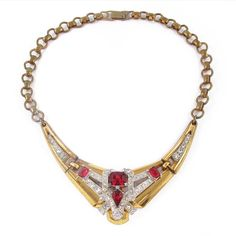 Vintage Signed 'McClelland Barclay' Gold Tone & Red Ruby Accent Rhinestone Necklace c. 1930