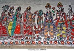 Painting on Wall Madhubani Bihar India Asia - Stock Image Madhubani Art, Madhubani Painting, Mask Design, Design Art, Kalamkari Designs, Indian Folk Art, India Asia, Mural Painting, Mandala Design