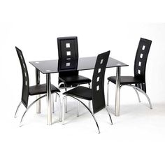 Bizet Black Glass Dining Table And 4 Black Bellini Chairs