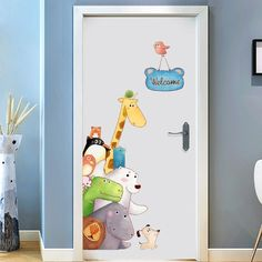 Giraffe WELCOME Quotes Posters and Prints Wall Sticker Cartoon Anima Painting Door Stickers Pictures for Children Baby Rooms Art - Wall Sticket Kids Room Wall Decals, Kids Room Paint, Kids Wall Decor, Nursery Wall Decor, Playroom Mural, Childrens Wall Decals, Bathroom Wall Stickers, Kids Room Murals, Girl Nursery