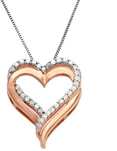 Two Hearts Forever One 14k Rose Gold-Over-Silver & Sterling Silver 1/4-ct. T.W. Diamond Heart Pendant for Valentine's Day   https://api.shopstyle.com/action/apiVisitRetailer?id=233876782&pid=uid2500-37484350-28