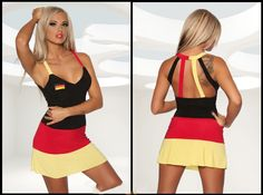 For all female football fans who want to make a good impression during the World Cup. The elastic WM mini dress in black / red / gold is adorned every fan of the German national team.  Dress Size (inch)  Size  Bust(cm)  Waist(cm)  Hips(cm)  Sma...