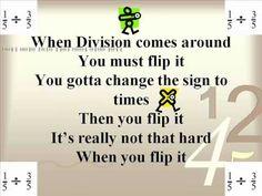 Flip It song for dividing fractions Math 5, Math Literacy, Homeschool Math, Guided Math, Math Teacher, Math Classroom, Fun Math, Classroom Ideas, Sixth Grade Math