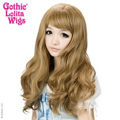 FRONT VIEW: Heart Breakers Wigs are long natural wavy synthetic hair with loose curls and versatile Korean and Japanese Classic Lolita, Gryaru, Ulzzang/Uljjang hairstyles. Get that heartbreaker look in this Honey Milk Tea Mix! Model: Houston Lolita - Lauren Addington #glw #gothiclolitawigs #longhair #hairstyle #wavyhair #hairporn #wig #wig4wig #lolita #lolitafashion