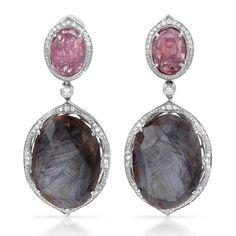 MFG Contessa 14k White Gold 3/5ct TDW Diamond Smokey Sapphire Pink Spinel Earrings