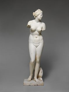 Marble statue of Aphrodite.  Period:     Imperial. Date:     1st or 2nd century A.D. Culture:     Roman. Medium:     Marble. Dimensions:     H. with plinth 62 1/2 in. (158.8 cm)