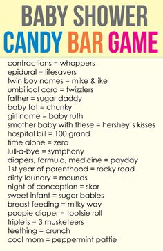 Baby Shower Candy Bar Game Your guests will love this game! The Candy Bar Game is the most popular.Your guests will love this game! The Candy Bar Game is the most popular. Cute Baby Shower Ideas, Baby Shower Favors, Baby Shower Parties, Baby Shower Decorations, Baby Shower Invitations, Shower Gifts, Shower Party, Baby Shower Candy Table, Baby Shower Game Gifts