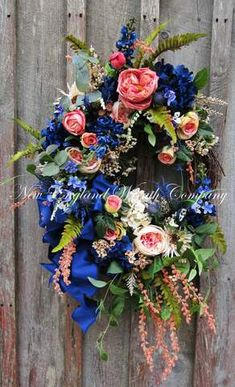 Providence Country Manor Wreath ~A New England Wreath Company Designer Original~ Dining Room Blue, Victorian Gardens, Summer Wreath, Spring Wreaths, Wreaths For Front Door, Door Wreaths, Cabbage Roses, Spring Sign, Do It Yourself Home
