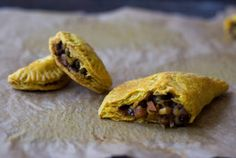Jamaican veggie patties with carrots, potatoes, onions, peas, spices and  coconut milk.