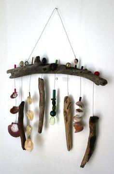 driftwood - shells- beach theme wind chime