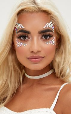 The Gypsy Shrine Iridescent Candy Kiss Face Jewels. Head online and shop this season's range of beauty at PrettyLittleThing. Music Festival Makeup, Festival Makeup Glitter, Festival Face Jewels, Festival Hair, Festival Shop, Festival Fashion, Glitter Face, Glitter Makeup, Glitter Shoes