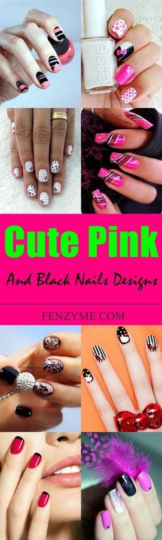 45 cute pink and black nails designs black nail designs nail 45 cute pink and black nails designs prinsesfo Gallery