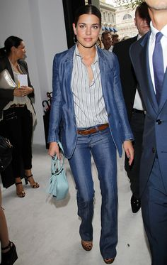 Perfection! I want this suit!! Charlotte Casiraghi Suits Up In Denim For The Gucci Show In Italy
