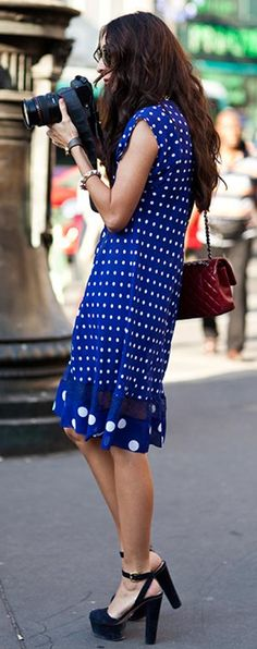 Polka dots and some killer heels.