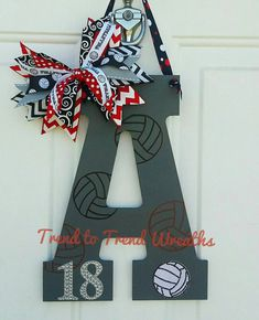 Wooden Volleyball Letter Volleyball by TrendtoTrendWreaths