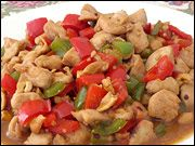 WOW! KUNG PAO!  This is fabulous... I make it a lot for lunches at school and this makes so much that I usually divide it into 4 servings... that's 115 calories for lunch people! :)