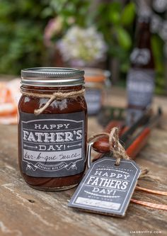 Printable Father's Day Labels in Chalkboard Style | Lia Griffith