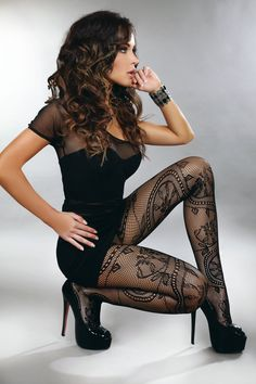 Not usually a fan of patterned hose but this combination of dress, heels and hose is very hot and I'd love to wear; for comfort I'd wear sheer black hose under the fishnet hose.