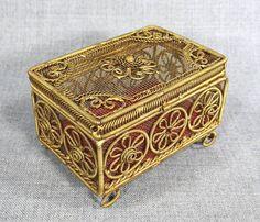 Antique Mesh Metal Filigree Flower Jewelry Trinket Box Case Casket Cricket Cage | eBay