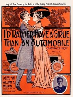Id Rather Have A Girlie Than An Automobile 1903 Old Sheet Music, Vintage Sheet Music, Vintage Sheets, Music Sheets, Vintage Comics, Vintage Posters, Vintage Art, Art Nouveau Illustration, Graphic Illustration