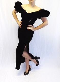 Vintage 80s Black Velvet Prom Dress Party by alicksandraflin