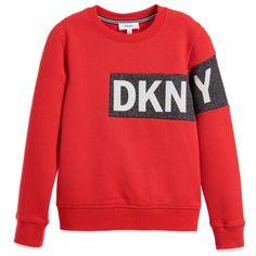 DKNY Red Cotton Logo Sweatshirt  at Childrensalon.com