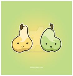 Kawaii Pears by KawaiiUniverseStudio.deviantart.com on @DeviantArt