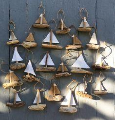 Hanging Sailboat Mini's - Driftwood Christmas Ornament - Rustic Ornament
