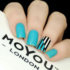 Ideas For Nails Blue Black Shape Trendy Nail Art, Stylish Nails, Fabulous Nails, Perfect Nails, Wow Nails, Uñas Fashion, Fashion Ideas, Modern Nails, Stamping Nail Art