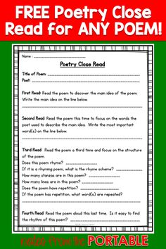 How to Teach Poetry (Even if You Hate it - This FREE poetry close read was perfect for my literacy centers and guided reading lessons. A great addition to my poetry unit. 5th Grade Poetry, 5th Grade Reading, Teaching Poetry, Teaching Reading, Teaching Ideas, Learning, Teaching Genre, Teacher Resources, Poetry Unit