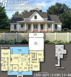 Plan Lovely Farmhouse Plan with Vaulted Living Room - House plans - Country Recipes New House Plans, Dream House Plans, My Dream Home, Dream Houses, 2200 Sq Ft House Plans, The Plan, How To Plan, Farmhouse Floor Plans, Country Farmhouse Decor