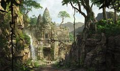 Eidos just released some of my concept art for Tomb Raider: Underworld . Fantasy Forest, Fantasy City, Fantasy Places, Fantasy World, Fantasy Landscape, Landscape Art, Tomb Raider Underworld, Jungle Temple, Game Concept Art