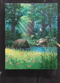 Canvas Painting Tutorials, Painting Videos, Online Painting, Acrylic Painting Canvas, Painting Techniques, Canvas Art, Painting Art, Lake Painting, Acrylic Art