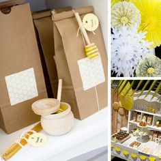 Charming Honey and Bee Party: Honey sticks make a cute and inexpensive party favor!