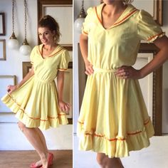 This home sewn sweetie pie was the apple of some nibble square dancer's eye, and can now be yours!     Would be great styled as a pinup dress! Just add crinoline!     Features yellow cotton with orange ribbon trim and great construction. Great vintage condition, with no rips, holes, or stains.    Free ground shipping in the US! | Shop this product here: http://spreesy.com/froufrou/5 | Shop all of our products at http://spreesy.com/froufrou    | Pinterest selling powered by Spreesy.com