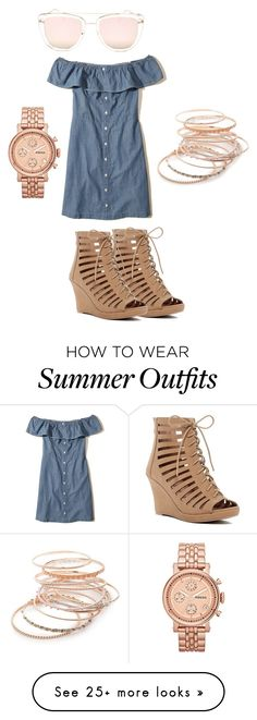 """""""Summer Time outfit"""" by snowbell187 on Polyvore featuring Hollister Co., Quay, Top Moda, Red Camel and FOSSIL"""