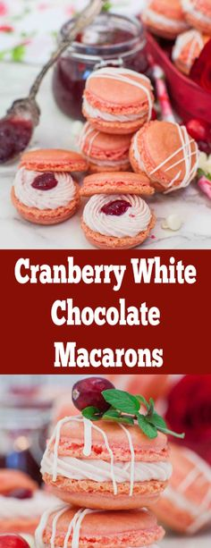 Incredibly easy step by step recipe! The Perfect macarons. Filled with cranberry tart flavors! Incredibly easy step by step recipe! The Perfect macarons. Filled with cranberry tart flavors! Single Serve Desserts, Desserts For A Crowd, Winter Desserts, Great Desserts, Delicious Desserts, Party Desserts, Chocolate Chip Shortbread Cookies, Toffee Cookies, Yummy Cookies