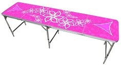 Pink Girls Beer Pong Table 8ft - Premium HD Design - Bottle Opener, Ball Rack, & 6 Pong Balls! by Red Cup Pong. Save 15 Off!. $127.47. Pink Girls Beer Pong Table, Manufactured with superior quality by Red Cup Pong.  Our beer pong tables and products are the most durable in the industry.  Each table features an easy to clean surface that measures the standard 8 foot by 2 foot beer pong table length. Our premium tables also feature the best graphics in the industry!    Premium De...
