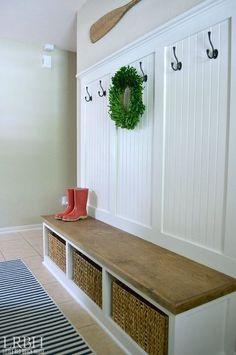 Diy entryway mudroom reveal mudroom home, rustic entryway y Mudroom, Home Projects, Foyer Decorating, Home Decor, Home Diy, Diy Entryway, Mudroom Cubbies, Mud Room Storage, Red Brick House