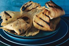 grilled tamales with poblanos and fresh corn