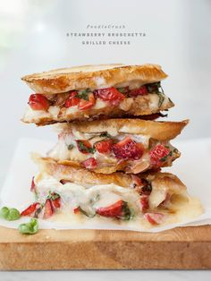 Strawberry Bruschetta Grilled Cheese and Friday Faves by Foodie Crush I Love Food, Good Food, Yummy Food, Healthy Food, Soup And Sandwich, Sandwich Recipes, Brie Sandwich, Steak Sandwiches, Cheese Recipes