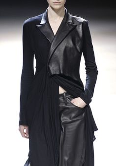 Jacket with contrasting leather lapels & front panel; reconstructed fashion details // Yohji Yamamoto
