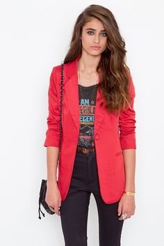 vintage tee + colored blazer