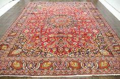 Traditional Vintage Persian Wool  9.6 X 12.5 Handmade Rugs Oriental Rug Carpet